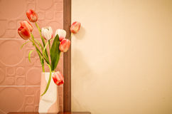 Tulip in the vase. Tulip group in the vase for background Stock Photos