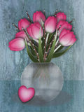 Tulip vase with loveheart Royalty Free Stock Photography