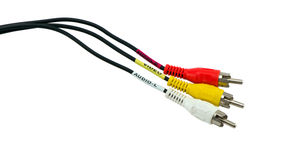 Tulip video audio tv cable wires plugs Royalty Free Stock Images