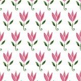 Tulipa cor-de-rosa da flor dos desenhos animados da aquarela Teste padrão sem emenda desenhado mão A textura pode ser usada impri Foto de Stock