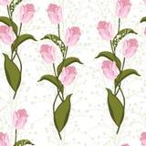 Tulipa cor-de-rosa de florescência selvagem na moda freshy da flor do verão bonito e teste padrão sem emenda das ervas ilustração royalty free