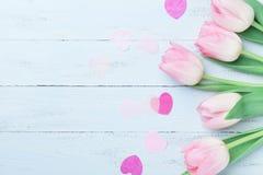 A tulipa cor-de-rosa floresce corações decorados na tabela azul para o dia da mulher ou de mães Cartão bonito da mola Vista super Fotografia de Stock