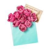 A tulipa cor-de-rosa floresce o cartão do vintage do envelope Fotografia de Stock Royalty Free