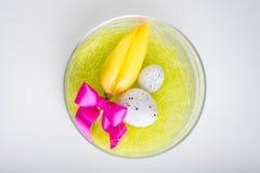 Tulipa e ovo da páscoa no vaso de vidro - easter feliz Imagem de Stock