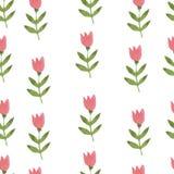 Tulipa tirada da flor da aquarela mão cor-de-rosa sem emenda Fotos de Stock