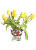 Tulipanes amarillos con la máscara del gato de unión de Britsh Fotos de archivo