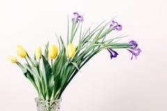 Tulipanes amarillos e iris púrpuras en un florero en un fondo beige Fotografía de archivo