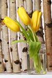 Tulipanes amarillos en el fondo de madera Fotografía de archivo