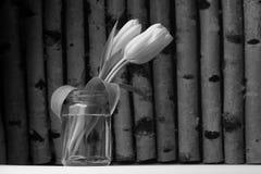 Tulipanes amarillos en el fondo de madera Imagenes de archivo