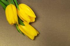 Tulipanes amarillos en el papel, Foto de archivo