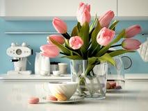 Tulipanes amarillos frescos en fondo de la cocina 3d Imagen de archivo