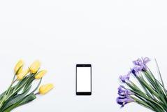 Tulipanes amarillos, iris púrpuras y teléfono móvil en un backgro blanco Imagen de archivo