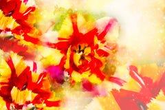 Tulipanes amarillos rojos y fondo suavemente borroso de la acuarela Fotografía de archivo
