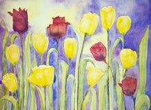 Tulipanes amarillos y rojos en una lila y un fondo amarillo Fotos de archivo libres de regalías