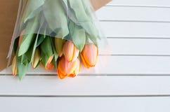 Tulipanes anaranjados encendido Fotos de archivo