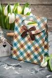 Tulipanes, casa del pájaro y un paquete del regalo Imagenes de archivo