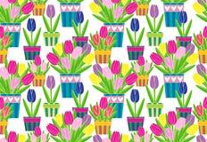 Tulipanes coloridos en modelo inconsútil del vector de los potes Foto de archivo libre de regalías