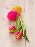 Tulipanes con los huevos de Pascua Fotos de archivo libres de regalías