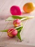 Tulipanes con los huevos de Pascua Imágenes de archivo libres de regalías