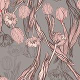 Tulipanes coralinos hermosos con el modelo inconsútil de las mariposas stock de ilustración