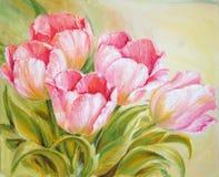 Tulipanes de la pintura al óleo Foto de archivo libre de regalías
