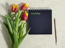 Tulipanes de la primavera con un cuaderno Foto de archivo