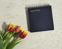 Tulipanes de la primavera con un cuaderno Imagenes de archivo