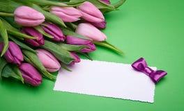 Tulipanes de la primavera y tarjeta de felicitación en un fondo verde fotos de archivo