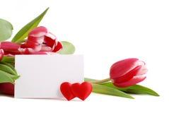 Tulipanes de la tarjeta del día de San Valentín Fotografía de archivo libre de regalías