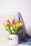 Tulipanes del color en el bastón Fotos de archivo