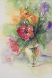 Tulipanes del color en fondo de la acuarela del florero stock de ilustración