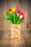Tulipanes en el saco Fotos de archivo