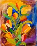 Tulipanes en la pintura de la primavera Imagenes de archivo
