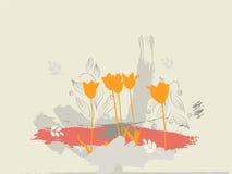 Tulipanes en la tierra Fotografía de archivo