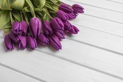 Tulipanes en los tableros blancos Foto de archivo libre de regalías
