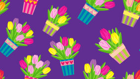 Tulipanes en potes en un modelo inconsútil del vector del fondo púrpura Imágenes de archivo libres de regalías