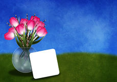 Tulipanes en un greetingcard del florero Imagen de archivo libre de regalías