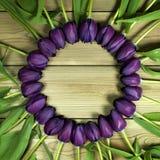 Tulipanes púrpuras en un círculo en un fondo de madera con el espacio para fotos de archivo libres de regalías