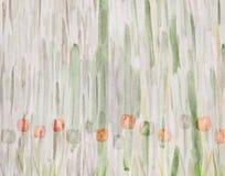 Tulipanes pintorescos en fondo verde abstracto handmade Imagen de archivo