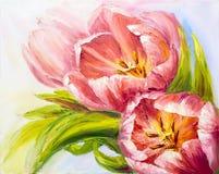 Tulipanes, pintura al óleo en lona Foto de archivo libre de regalías