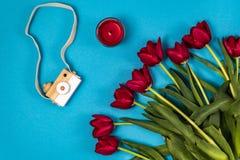Tulipanes rojos con la figura de madera de la cámara imagenes de archivo