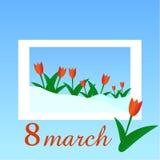 Tulipanes rojos 8 de marzo Día de las mujeres s ilustración del vector