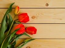 Tulipanes rojos en fondo de madera Imágenes de archivo libres de regalías