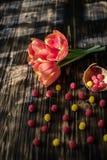 Tulipanes rojos florecientes en un fondo de madera con los dulces Imagen de archivo