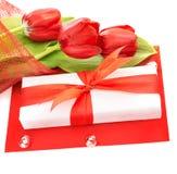 Tulipanes rojos para el día de madres Fotos de archivo libres de regalías