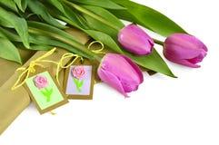 Tulipanes rosados con los regalos Fotografía de archivo libre de regalías