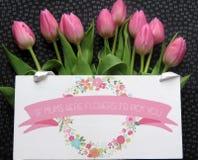 Tulipanes rosados del día de madres Foto de archivo libre de regalías