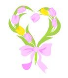 Tulipanes rosados y amarillos stock de ilustración