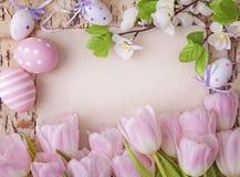 Tulipanes rosados y nota en blanco Imagen de archivo libre de regalías