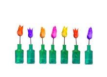 Tulipanes verdes de la botella de cristal Fotos de archivo